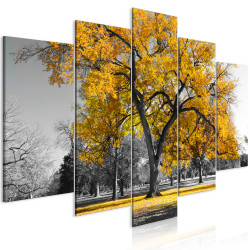 Tablou - Autumn in the Park (5 Parts) Wide Gold