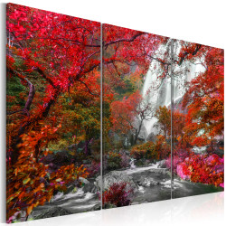 Tablou - Beautiful Waterfall: Autumnal Forest