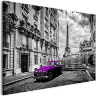 Tablou - Car in Paris (1 Part) Violet Wide