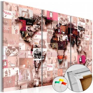 Tablou din plută - Banksy Graffiti Collage [Cork Map]