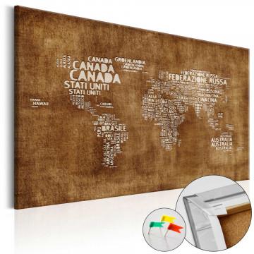Tablou din plută - The Lost Map [Cork Map - Italian Text]