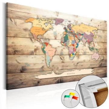 Tablou din plută - The World at Your Fingertips [Cork Map]