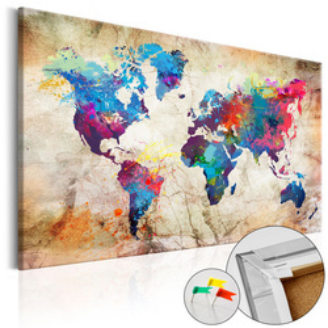 Tablou din plută - World Map: Urban Style  [Cork Map]
