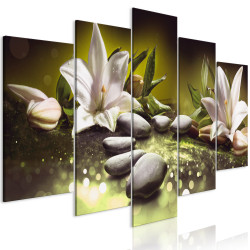 Tablou - Lilies and Stones (5 Parts) Wide Green