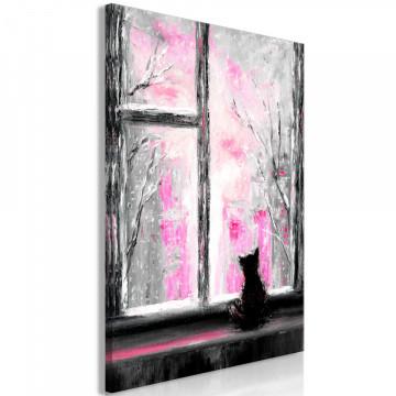 Tablou - Longing Kitty (1 Part) Vertical Pink