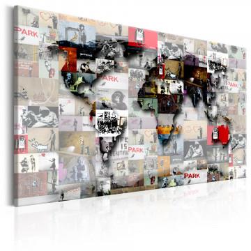 Tablou - Map: Banksy inspiration