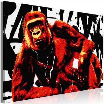 Tablou - Pop Art Monkey (1 Part) Narrow Red