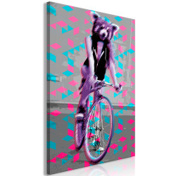Tablou - Raccoon On The Bike (1 Part) Vertical