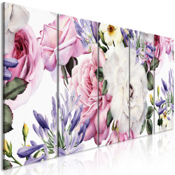 Tablou - Rose Composition (5 Parts) Narrow Colourful