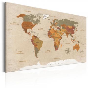 Tablou - World Map: Beige Chic