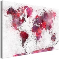Tablou - World Map: Red Watercolors (1 Part) Wide
