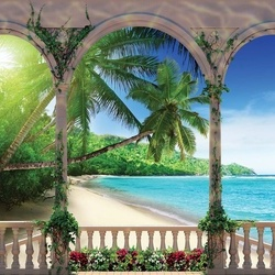 Tropical Beach View Through Arches Photo Wallpaper Wall Mural