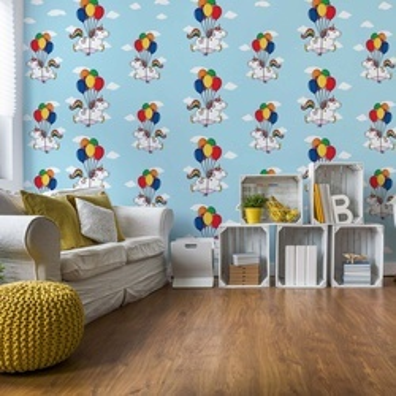 Unicorns And Balloons Pattern Blue Photo Wallpaper Wall Mural
