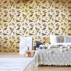 Vintage Bird Pattern Sepia Photo Wallpaper Wall Mural