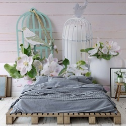 Vintage-Chic Flowers Photo Wallpaper Wall Mural