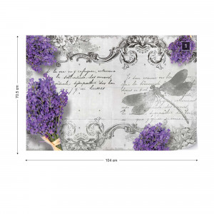 Vintage Lavender And Dragonfly Design Photo Wallpaper Wall Mural