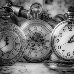 Vintage Pocket Watches Black And White Photo Wallpaper Wall Mural