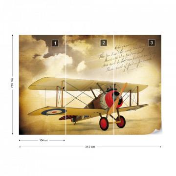 Vintage Propeller Plane Sepia Photo Wallpaper Wall Mural