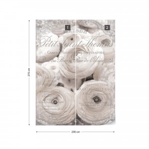 White Peonies Vintage Script Black And White Photo Wallpaper Wall Mural