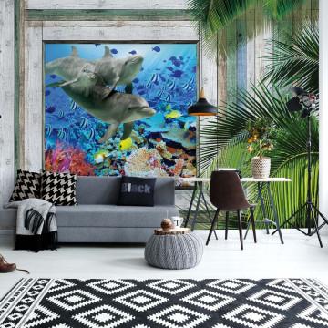 Wood Plank Window Tropical Undersea View Photo Wallpaper Wall Mural