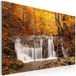 Tablou - A waterfall in the middle of fall trees