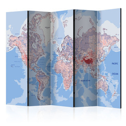Paravan - Room divider – World map