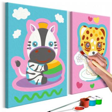Pictatul pentru recreere - Zebra & Leopard (Pink & Blue)