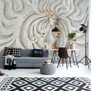 3D Classical Woman Stone Swirls Photo Wallpaper Wall Mural