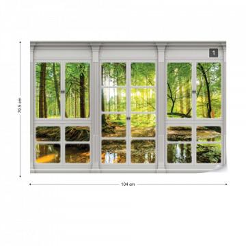 3D Door View Forest Photo Wallpaper Wall Mural