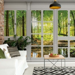 3D Door View Forest Photo Wallpaper Wall Mural