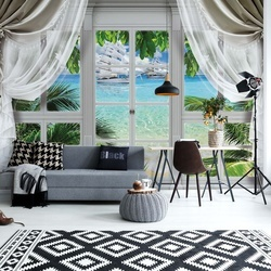 3D Door View Tropical Island Beach Photo Wallpaper Wall Mural