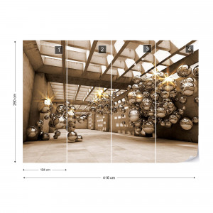 3D Gold Spheres Modern Architecture Photo Wallpaper Wall Mural