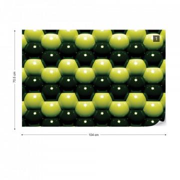 3D Green And Black Ball Pattern Photo Wallpaper Wall Mural