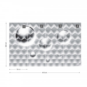 3D Grey And White Design Photo Wallpaper Wall Mural