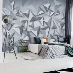3D Modern Grey And White Triangles Design Photo Wallpaper Wall Mural