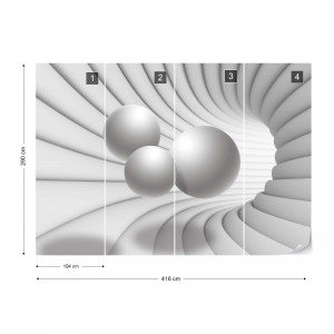 3D Modern Tunnel View Grey And White Photo Wallpaper Wall Mural