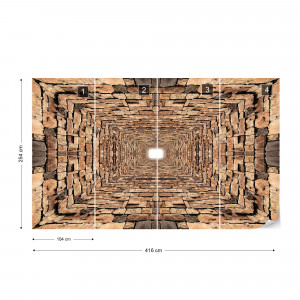3D Stone Tunnel Photo Wallpaper Wall Mural