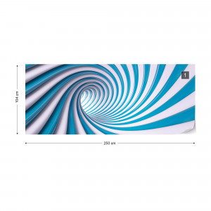 3D Swirl Tunnel Blue And White Photo Wallpaper Wall Mural