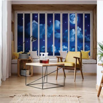 3D Window View Dreamy Night Sky Photo Wallpaper Wall Mural