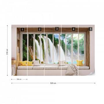 3D Window View Waterfall Photo Wallpaper Wall Mural