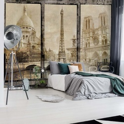 Vintage Paris Tryptich Photo Wallpaper Wall Mural
