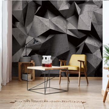 3D Geometric Concrete Wall Photo Wallpaper Wall Mural