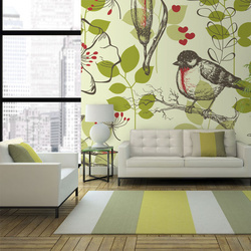 Fototapet - Bird and lilies vintage pattern