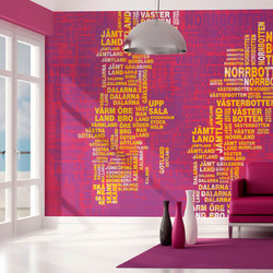 Fototapet - Text map of Sweden on pink background
