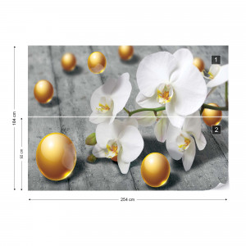 Abstract 3D Design Yellow Balls Orchids Photo Wallpaper Wall Mural