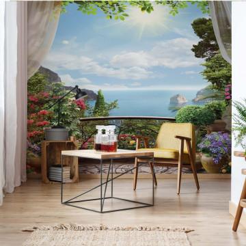 Balcony Seaside View Photo Wallpaper Wall Mural