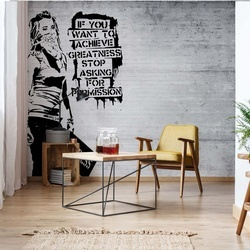 Banksy Graffiti Concrete Texture Photo Wallpaper Wall Mural