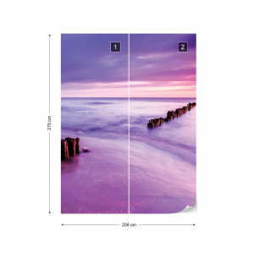Beach Purple Sunset Sea Photo Wallpaper Wall Mural