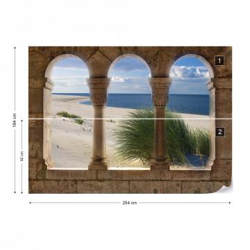 Beach Sand Dunes View Through Stone Arches Photo Wallpaper Wall Mural