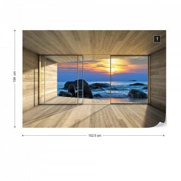 Beach Sunset 3D Modern Window View Photo Wallpaper Wall Mural